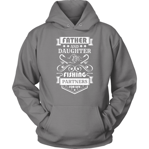 Image of Father and Daughter Fishing Partners T-shirt Unisex Hoodie Grey S