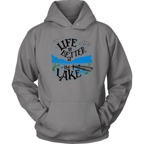 Image of Life is Better At The Lake Men's Shirts T-shirt Unisex Hoodie Grey S