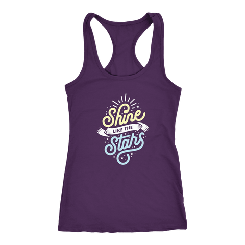 Shine Like The Stars T-shirt Next Level Racerback Tank Purple XS