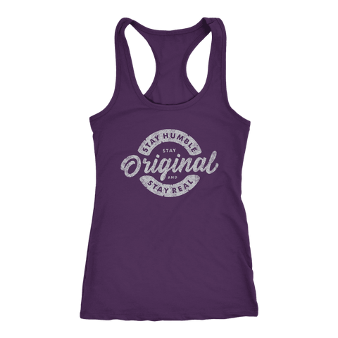 Image of Stay Real, Stay Original Womens T-shirt Next Level Racerback Tank Purple XS