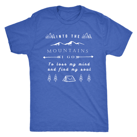 Image of Into the Mountains I Go T-shirt Next Level Mens Triblend Vintage Royal S