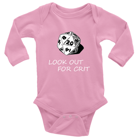 Image of Look Out For Crit Onesies T-shirt Long Sleeve Baby Bodysuit Pink NB