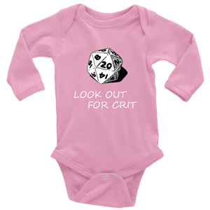 Look Out For Crit Onesies T-shirt Long Sleeve Baby Bodysuit Pink NB