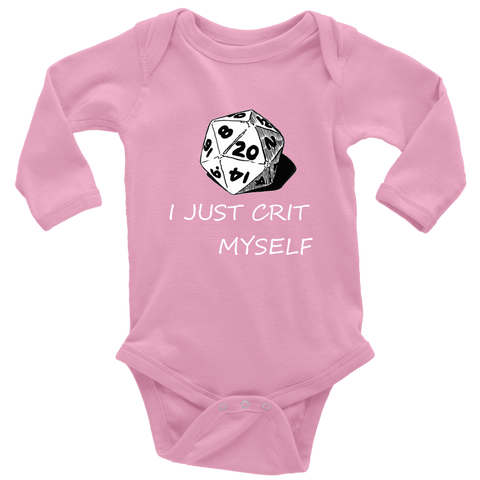 Image of I Just Crit Myself Onsies T-shirt Long Sleeve Baby Bodysuit Pink NB