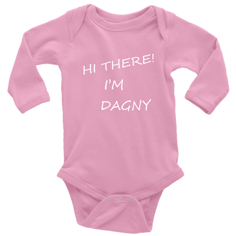 Image of Hello There Dagny Onseis T-shirt Long Sleeve Baby Bodysuit Pink NB
