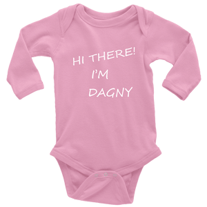 Hello There Dagny Onseis T-shirt Long Sleeve Baby Bodysuit Pink NB