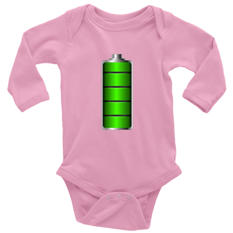Image of Fully Charged Onsies T-shirt Long Sleeve Baby Bodysuit Pink NB