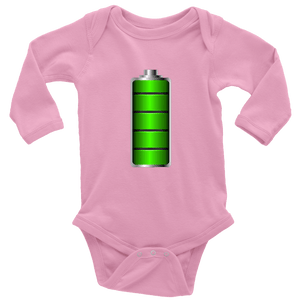 Fully Charged Onsies T-shirt Long Sleeve Baby Bodysuit Pink NB