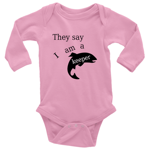 Image of They Say I Am A Keeper | Loving Baby Onesie T-shirt Long Sleeve Baby Bodysuit Pink NB