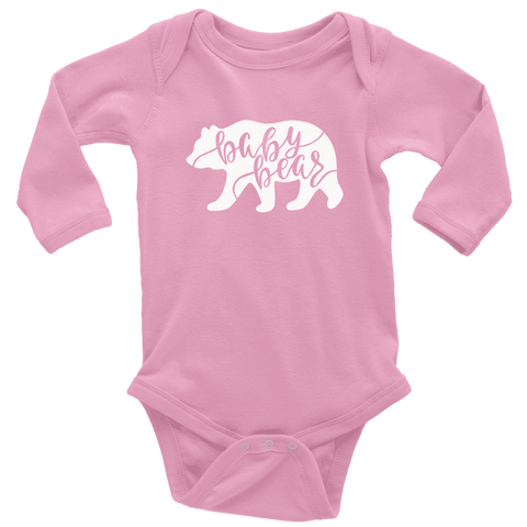 Baby Bear Shirts and Onesies T-shirt Long Sleeve Baby Bodysuit Pink NB