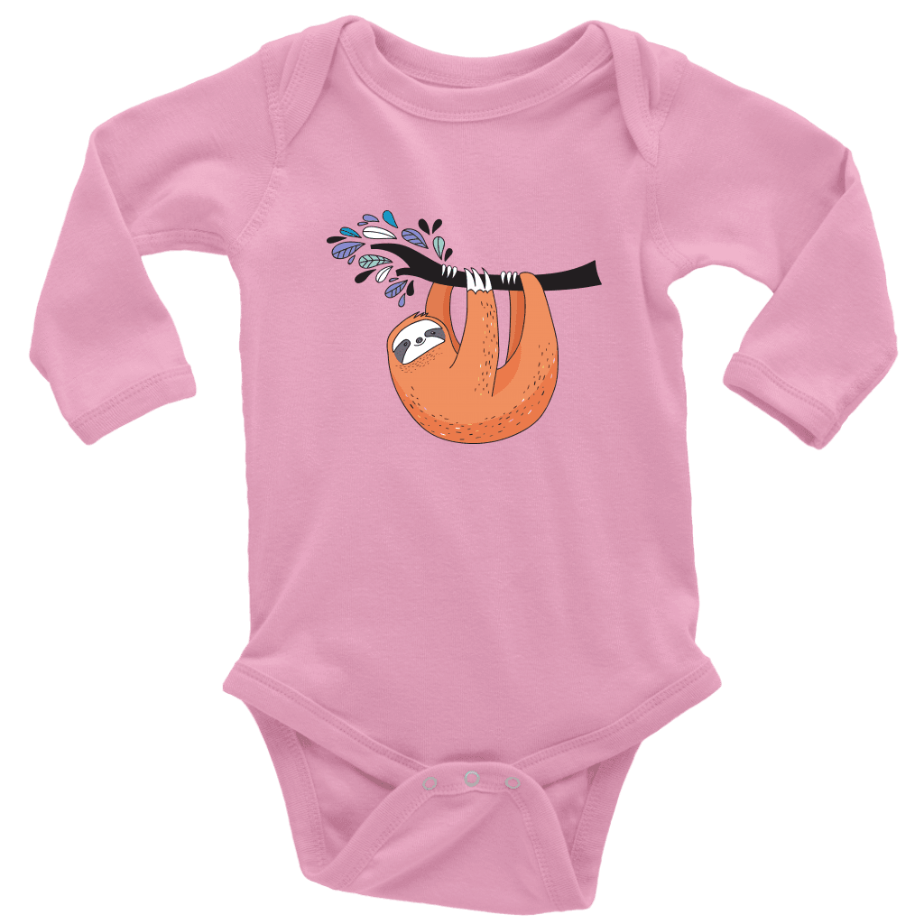 Just Hanging Onsies T-shirt Long Sleeve Baby Bodysuit Pink NB