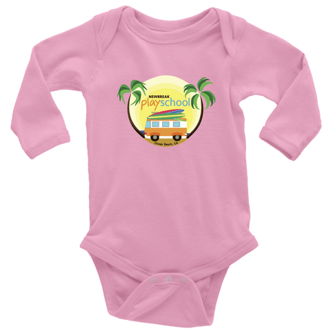 Image of Newbreak Playschool Onesie T-shirt Long Sleeve Baby Bodysuit Pink NB