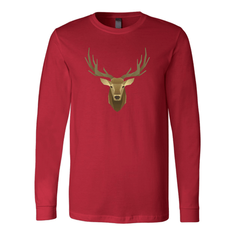Image of Deer Portrait, Real T-shirt Canvas Long Sleeve Shirt Red S