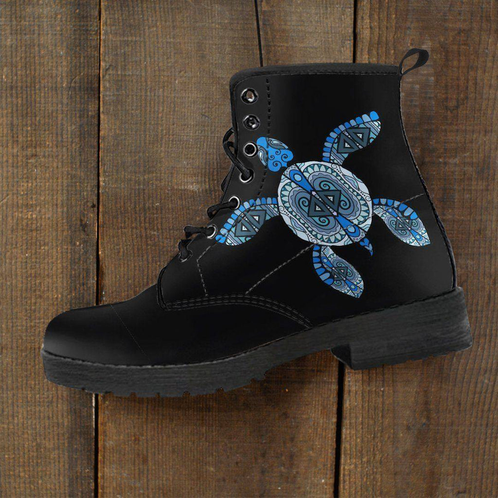 Cool Blue Turtle on Premium Eco Leather Boots