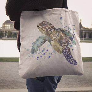 Premium Watercolor Turtles on Re-Useable Canvas Tote Tote Bag