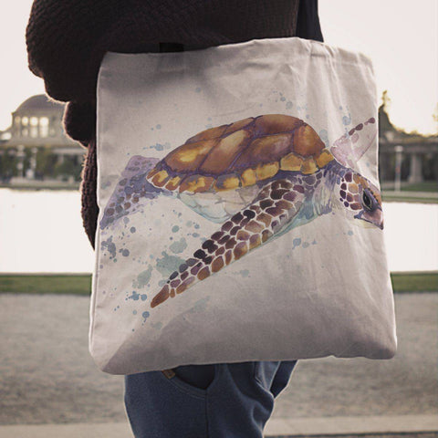 Premium Watercolor Turtles on Reusbale Canvas Tote Tote Bag