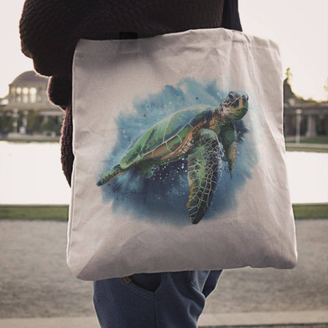 Image of Premium Watercolor Turtles on Reusbale Canvas Tote
