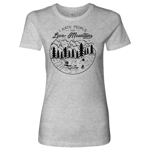 Image of Love The Mountains Womens T-shirt Next Level Womens Shirt Heather Grey S