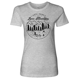 Love The Mountains Womens T-shirt Next Level Womens Shirt Heather Grey S