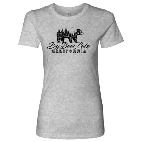 Image of Big Bear Lake California V.2, Womens, Black T-shirt Next Level Womens Shirt Heather Grey S