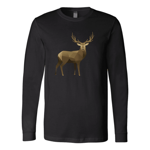 Real Polygonal Deer T-shirt Canvas Long Sleeve Shirt Black S