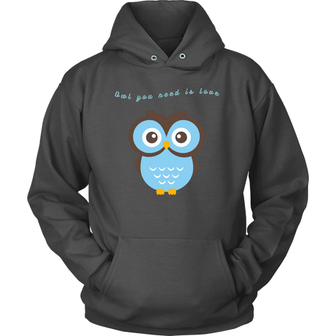 Image of Owl You Need is Love T-shirt Unisex Hoodie Charcoal S
