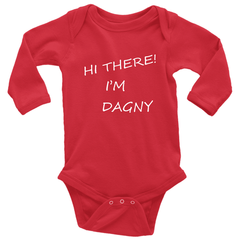 Image of Hello There Dagny Onseis T-shirt Long Sleeve Baby Bodysuit Red NB