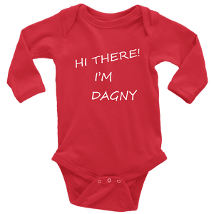 Hello There Dagny Onseis T-shirt Long Sleeve Baby Bodysuit Red NB