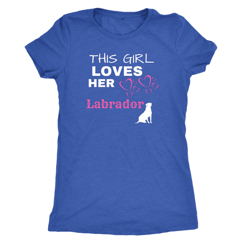 Image of This Girl Loves Her Lab T-shirt Next Level Womens Triblend Vintage Royal S