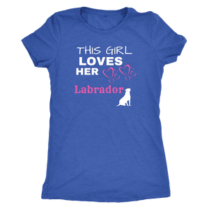 This Girl Loves Her Lab T-shirt Next Level Womens Triblend Vintage Royal S
