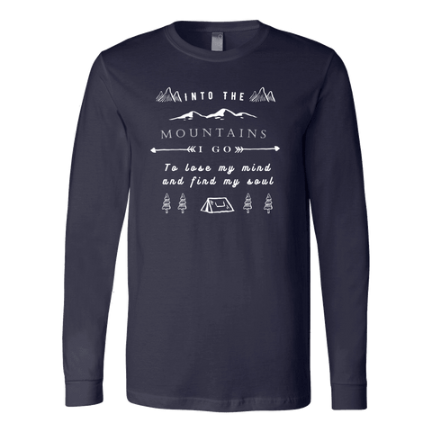 Image of Into the Mountains I Go T-shirt Canvas Long Sleeve Shirt Navy S