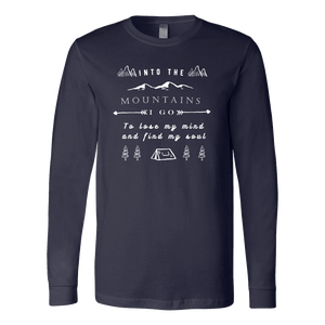 Into the Mountains I Go T-shirt Canvas Long Sleeve Shirt Navy S
