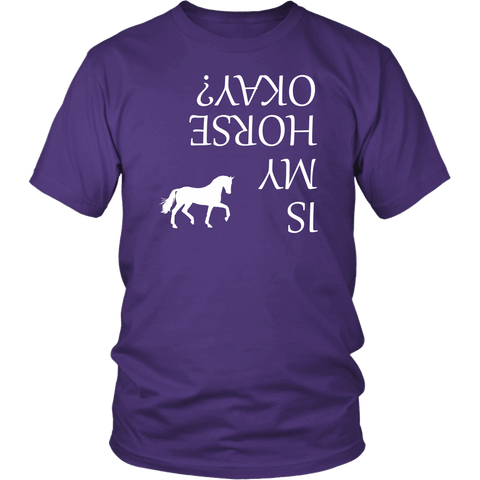 Image of Is My Horse Okay? | Fun Shirts T-shirt District Unisex Shirt Purple S