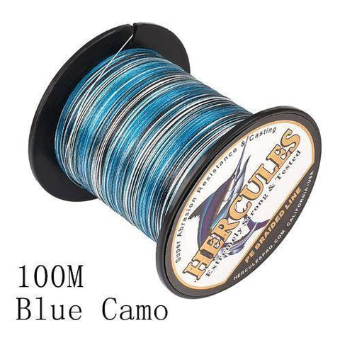 Camo 8 Stranded Braided PE Fishing Line | Super Strong Fishing Lines 100M Blue Camo .12 - 10 lbs