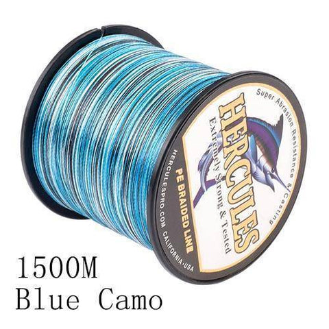 Camo 8 Stranded Braided PE Fishing Line | Super Strong Fishing Lines 1500M Blue Camo .12 - 10 lbs