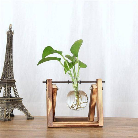 Image of Awesome Vintage Tabletop Hydroponic Plant Vase Distressed Wooden Frame Vases Single Standard