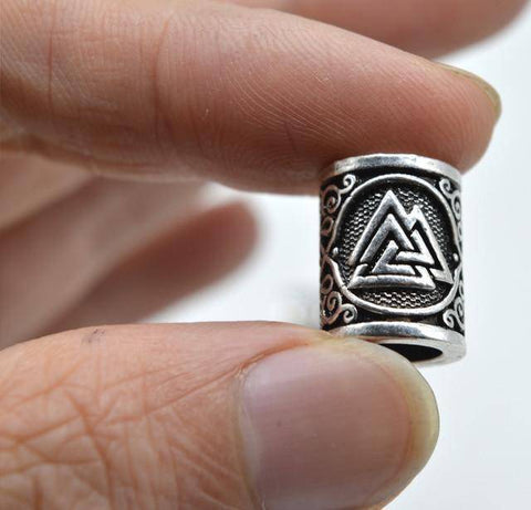 Image of Antique Silver Viking Runes and Hammers Beads 1