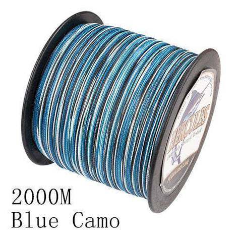 Camo 8 Stranded Braided PE Fishing Line | Super Strong Fishing Lines 2000M Blue Camo .12 - 10 lbs