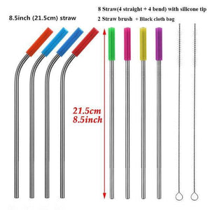 8PCS/set Stainless Steel Drinking Straw With Silicone Tips and Clean Brush Drinking Straws 215mm