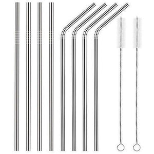 8PCS/set Stainless Steel Drinking Straw With Silicone Tips and Clean Brush Drinking Straws 215mm silver