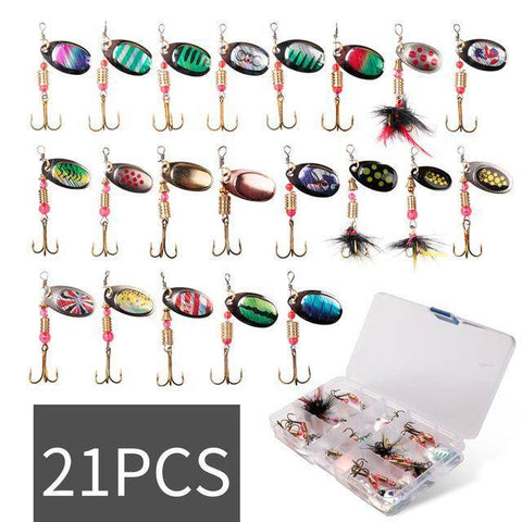 Spinning Lure Sets | Loving These Spinners for Bass and Trout Fishing Lures 21pcs with box