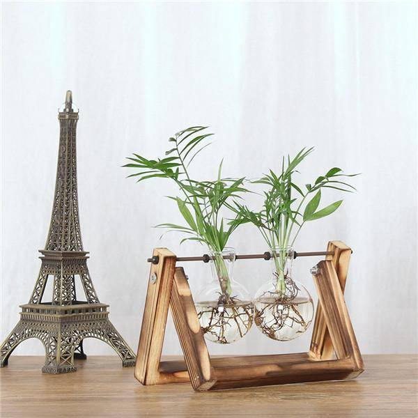 Awesome Vintage Tabletop Hydroponic Plant Vase Distressed Wooden Frame Vases Double Standard
