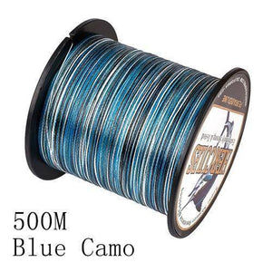Camo 8 Stranded Braided PE Fishing Line | Super Strong Fishing Lines 500M Blue Camo .12 - 10 lbs
