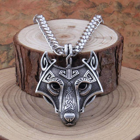 Image of Norse Vikings Pendant and Necklace with Wolf Head Pendant Necklaces Silver 50cm Chain
