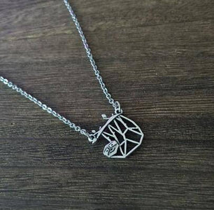 Geometric Hanging Sloth Necklace Pendant Necklaces Antique Silver Plated