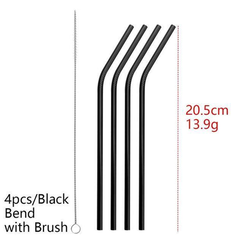 4PCS/Pack Colorful Stainless Steel Drinking Straws Drinking Straws Black Bend