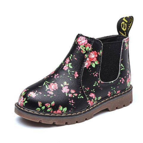 Image of Kid's Premium Eco Leather Boots Boots Black Floral 1