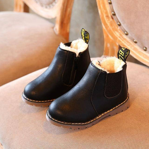 Image of Kid's Premium Eco Leather Boots Boots Black Fur 1