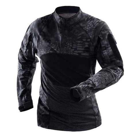 Men's Long Sleeve Field Shirt T-Shirts Black Snake S
