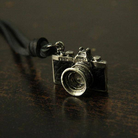Image of HANDMADE VINTAGE CAMERA LEATHER NECKLACE Pendant Necklaces Black
